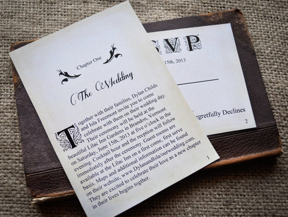 Ways To Save On Wedding Invitations: Novel Idea Literary Wedding Invitation Set Print Yourself