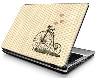 Bicycle with heart - Beige - Laptop Decals - Laptop Skins - Laptop Stickers - Laptop Vinyl
