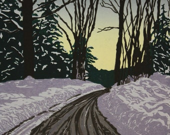 "Winter Road at Dusk 12"" x 18"" woodcut"