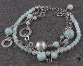 Blue faceted amazonite bracelet, sterling silver bracelet - silvergallerycomau