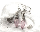 Sterling Silver Earrings, Dangle Earrings, Drop Earrings, Wire Wrapped Earrings, Mystic Pink Quartz Earrings, Pink Earrings - silvergallerycomau