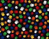 Timeless Treasures Stoff Pfoten Katzenpfoten Hundepfoten braun bunt schwarz Deko Cats  paws 0,5 m reine Baumwolle