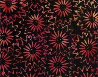 Bali Batik black with red flowers pure cotton