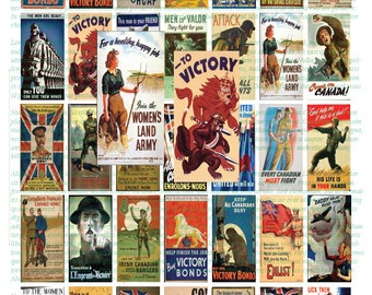 CANADIAN WW2 POSTERS - 1x2  Instant Download Domino Sized digital print out sheet for craft projects