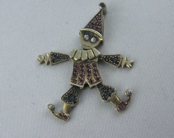 Magical Marionette Harlequin Pendant in gold plated sterling silver (925 Ag). Rubies, sapphires, zirconia. VINTAGE