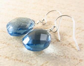 London blue quartz briolette earrings silver simple modern something blue