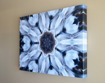 Abstract Kaleidoscope, Canvas Gallery Wrap, White and Brown Photo, Acrylic Highlights,18x24
