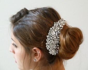 Swarovski Bridal Hair comb ,Bridal Hair Fascinator,Bridal Hair Jewelry, Bridal Crystal rhinestone hair comb Vintage Inspired