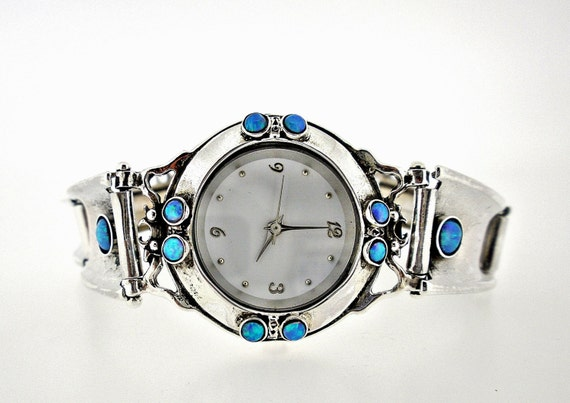 Handcrafted Sterling Silver Watch Bracelet, Opal, Artistic Jewelry, Unique Design