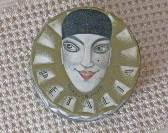 Tokalon Art Deco Petalia Face Powder Box with Powder - 1920's France