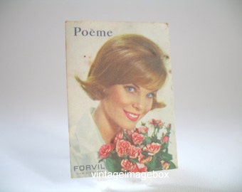 Vintage Forvil Poeme perfume card, French advertising 1960s, lady with pink flowers design