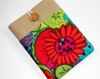 Google Nexus 10 Case, iPad sleeve, Padded,10 inch Tablet sleeve, Handmade iPad case, Floral Print Cover