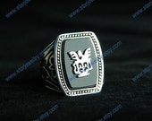 Steampunk Vampire Diaries Vampire Hunter Alaric Saltzman Ring---925sterling with black agate