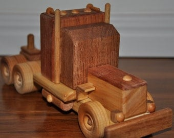 Wooden Truck Toy with choice of 4 trailers