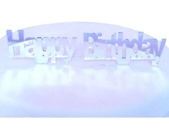 "Happy Birthday Cake Topper Silver Mirror - 10cm/4"""