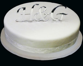"""Set of Three Celebration & Wedding Initials Silver Mirror Cake Toppers 10cm / 4"""""""