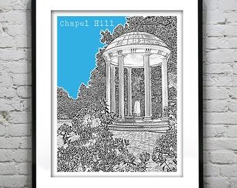 1 Day Only Sale 10% Off - Chapel Hill Poster Art Print North Carolina Rotunda NC   Item T1145