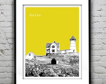 Maine York Beach Poster Art Print  Original New England Coastline Nubble Lighthouse