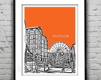 Sheffield Poster  Art Print South Yorkshire England UK