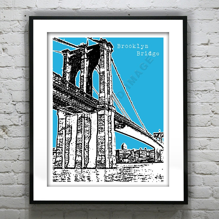brooklyn bridge poster art print new york manhattan nyc. Black Bedroom Furniture Sets. Home Design Ideas