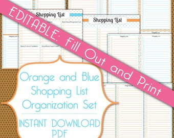 Editable Shopping Lists PDF Instant Download Organization Printable Set in Orange and Blue