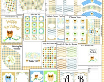Owl Printable Digital Party Pack INSTANT DOWNLOAD Birthday Celebration Set