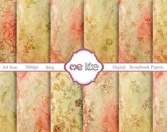 Digital Scrapbooking Grunge Flowers Paper Pack-INSTANT DOWNLOAD-Digital Paper for Personal or Commercial Use - 12 Sheets - 300 DPI -