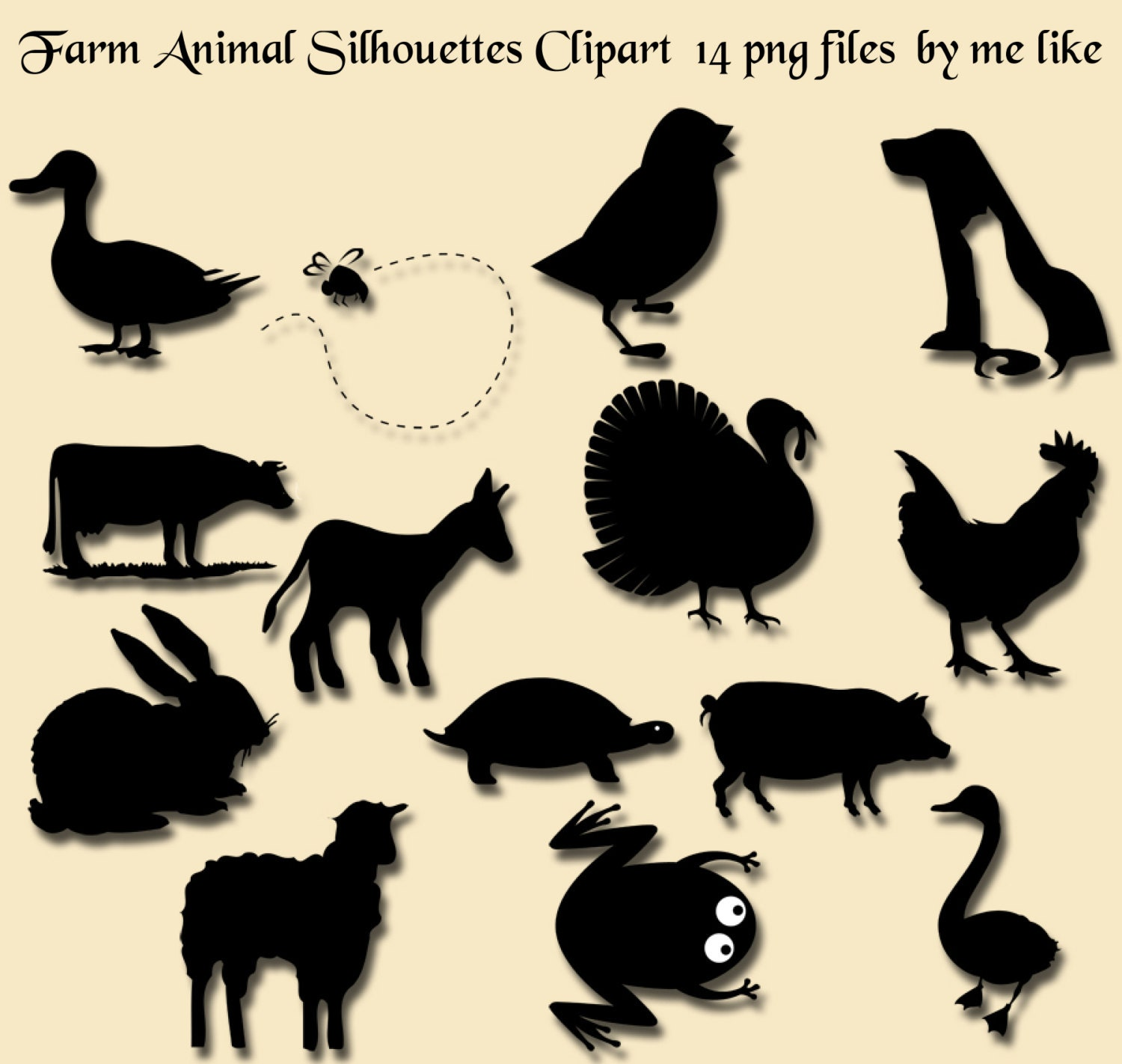 Farm Animal Silhouettes Clip Art-INSTANT DOWNLOAD-14 Individual ...