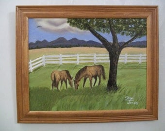 original framed oil painting of horses