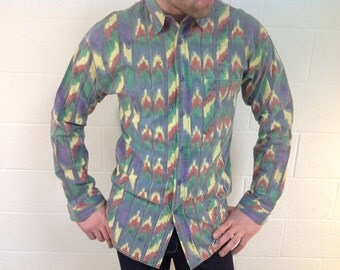 """L/S Abstract Patterned Shirt """"Kelley & Co."""" with Red, Yellow, Purple and Green - size medium"""