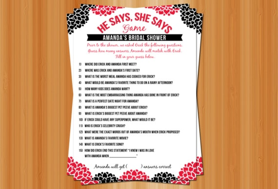 Printable he says she says bridal shower by theolivepresspaper