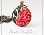 Pink Carnation Necklace Pendant Jewelry Vintage Image Art 0102AGC