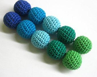 "Crocheted beads 20 mm (3/4"") handmade round green blue  set of 10"
