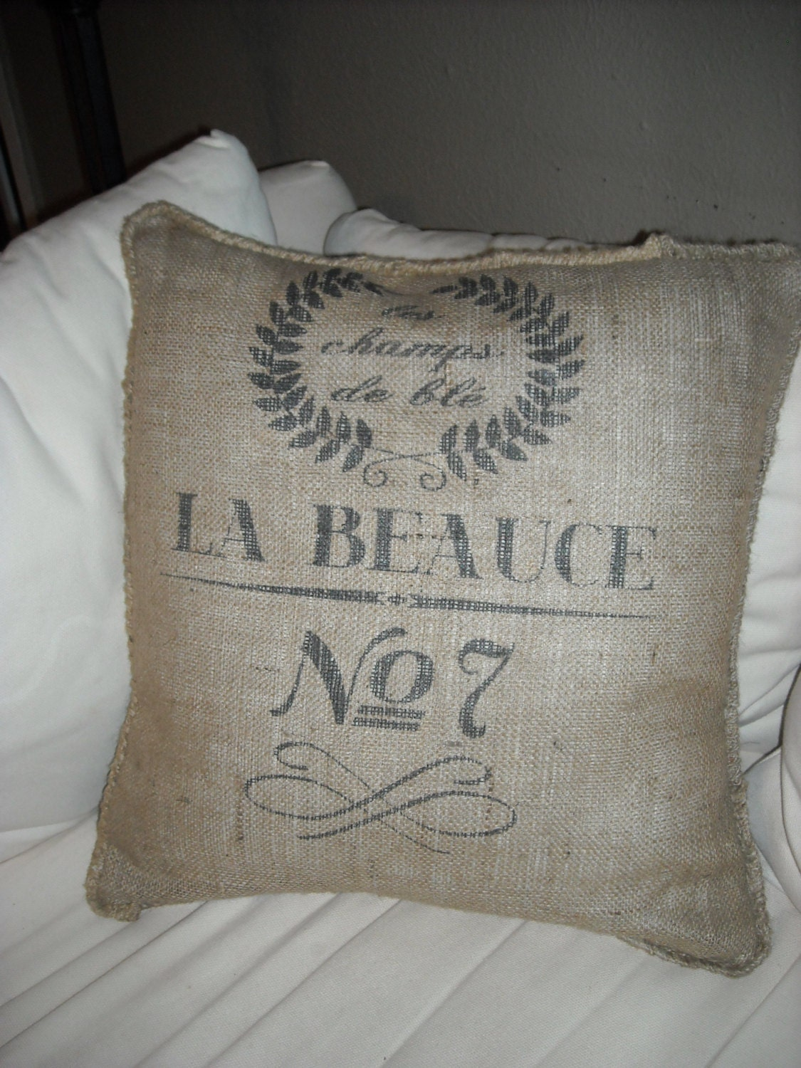 Burlap Throw Pillows Etsy : Decorative burlap throw pillow by PeytonsFaves on Etsy