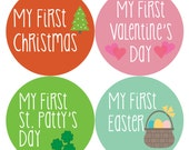Baby Month Milestone Stickers, First Holiday Stickers, Baby Holiday Stickers, First Holiday Bodysuit Stickers HOLIDAY SET
