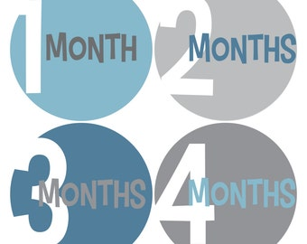 Baby Monthly Stickers, Monthly Baby Boy Stickers, Baby Month Milestone Stickers - Baby Boy, Baby Shower Gift, Grey, Blue