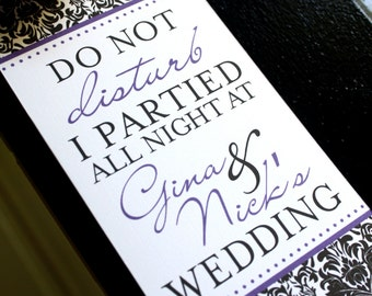 Hotel Wedding Door Hanger - Damask