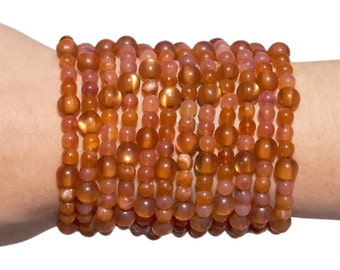 SIZE: SMALL - Toasted Coconut - Amber-Colored Beaded Wallet/Bracelet
