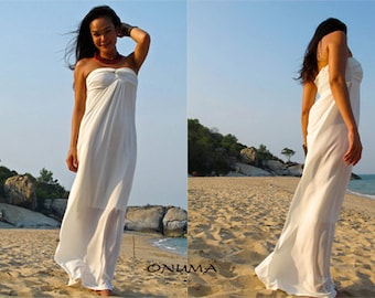 White strapless long maxi dress All size