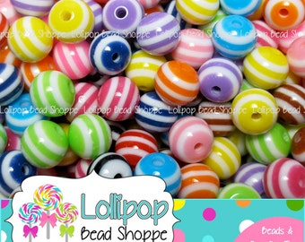 STRIPED Beads 12mm Beads Gumball Beads Chunky Beads 50ct MIX Stripe Resin Beads Round Beads Plastic Beads Bubblegum Beads Bubble Gum Beads