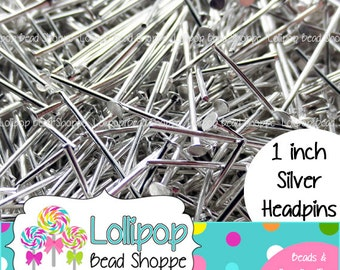 "150 ct Silver HEADPINS 25mm 1 inch (1"") - Flat Head - Jewelry Findings - Silver Head Pins"