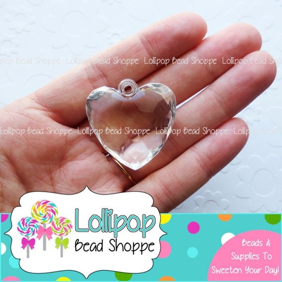 34mm clear faceted heart pendant chunky beads transparent like this item mozeypictures Gallery