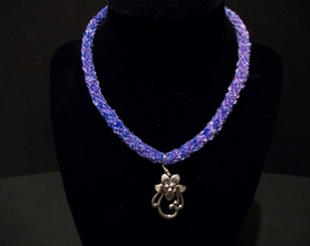 Lilac Flower Kumihimo Necklace