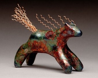Running Horse with copper mane and tail, Raku fired ceramics
