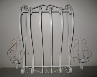 Vintage White Wrought Iron Wall Decor With Matching Candle Holders/ Sconces/ Shabby Chic