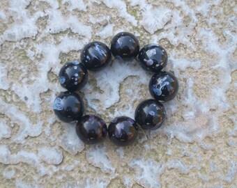 Chunky black speckled ceramic beaded bracelet
