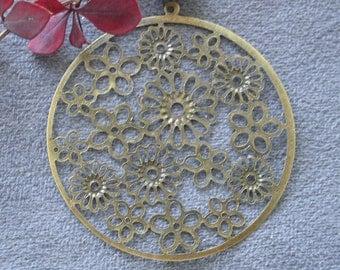 9 pcs 53mm Antique bronze brass vintage Style round pendant beads flower floral   M21