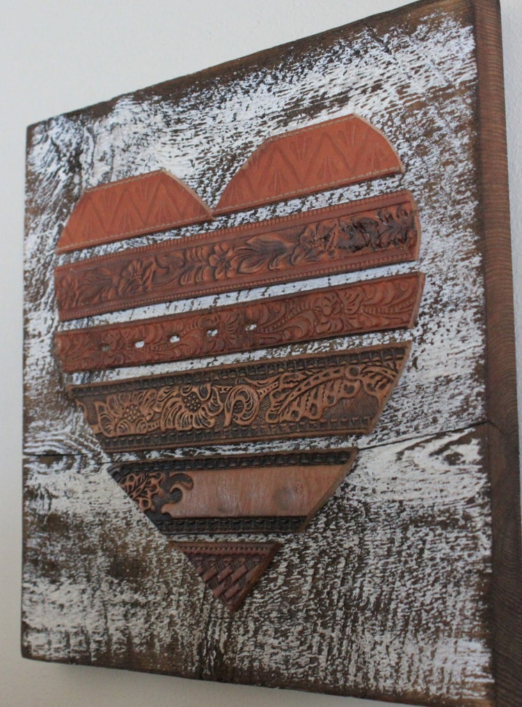 Rustic Leather Heart Wall Art By Beyondapicketfence On Etsy