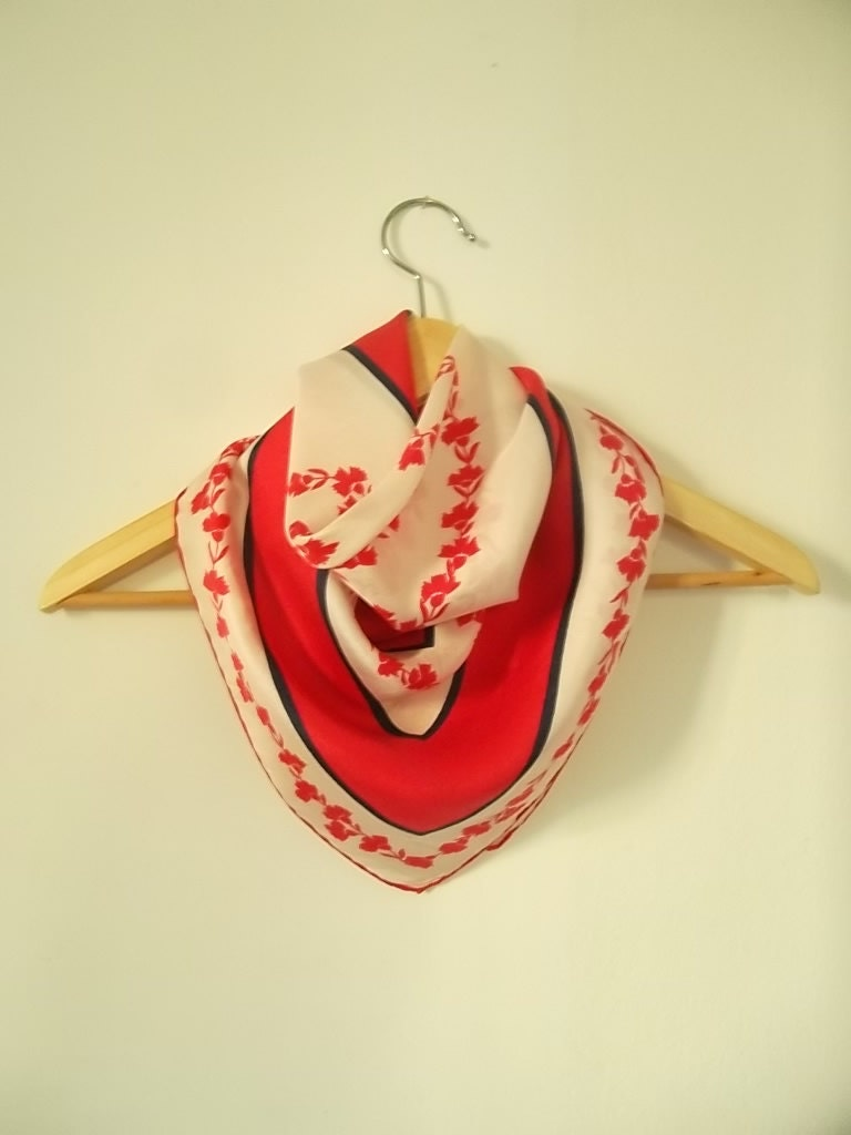 Vintage silk scarf Italian Vintage silk Scarf Pink White Navy blue  Vintage Italian Silk Scarves