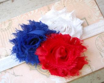 Baby Headband.Baby Girl Headband.Fourth of July Headband.4th of July Headband.Infant Headband.Red White and Blue Headband.Baby Girl Hair Bow